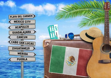 Concept of summer traveling with old suitcase and Mexico town sign