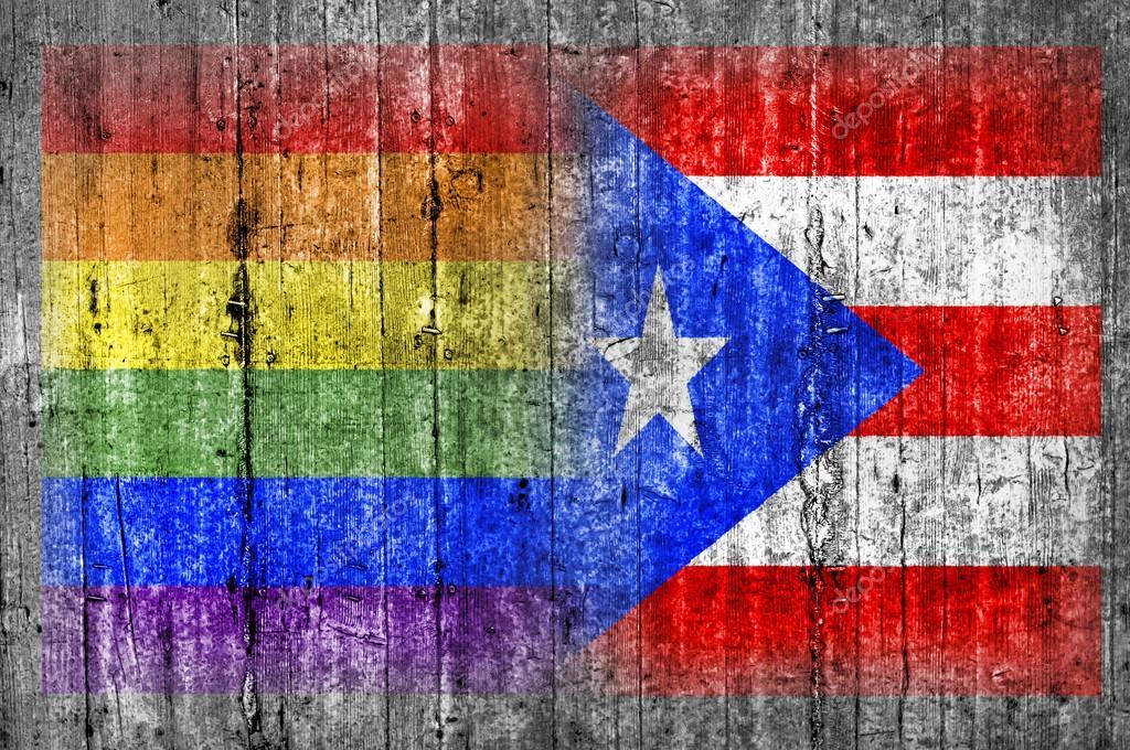 LGBT-Puerto Rico Flagge auf Betonwand — Stockfoto