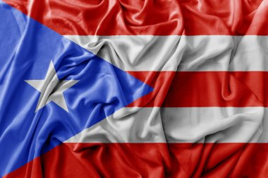 Ruffled waving Puerto Rico flag