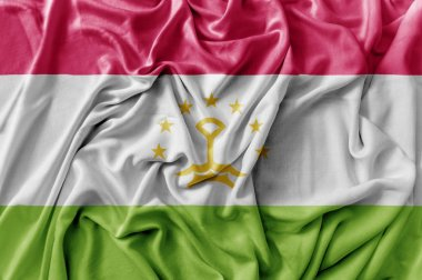Ruffled waving Tajikistan flag