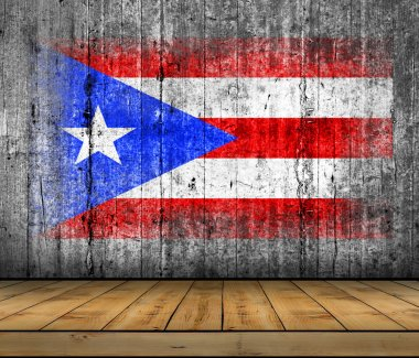 Puerto Rico flag painted on background texture gray concrete with wooden floor