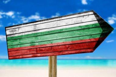 Bulgaria Flag wooden sign on beach stock vector