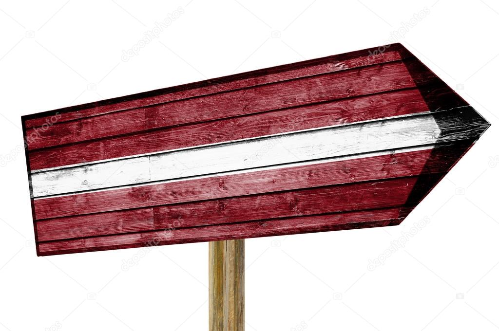 Latvia Flag wooden sign isolated on white