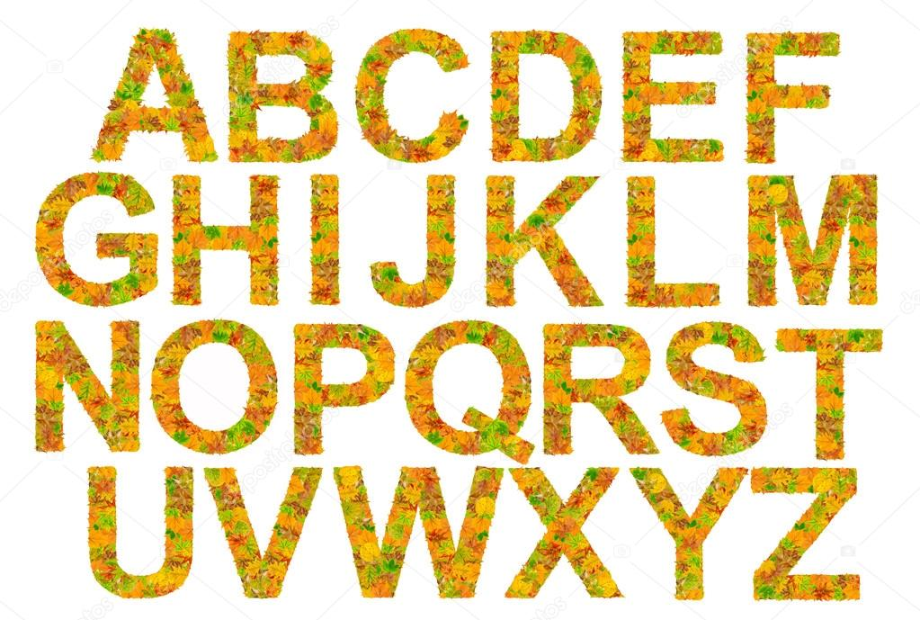 Alphabet made of autumn leaves isolated on white background