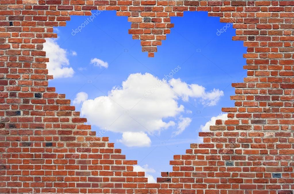 Loch Form Herz Innen Ziegelmauer, Symbol Der Liebe, Ziegel Wand H U2014  Stockfoto