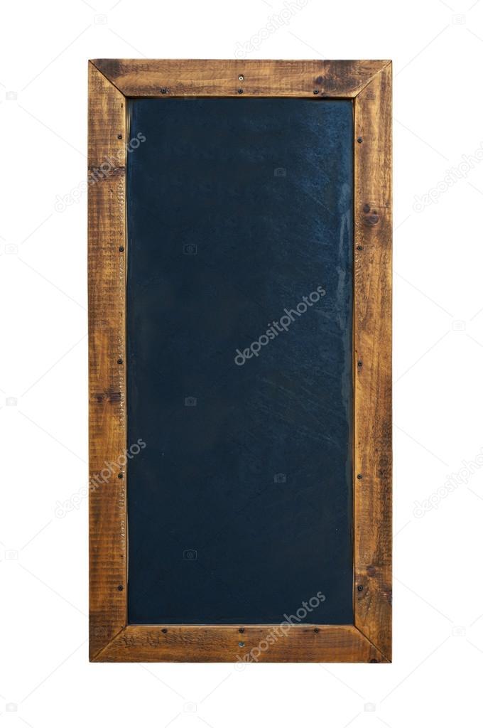 Pizarra negra en marco de madera con borrador y tiza — Fotos de ...