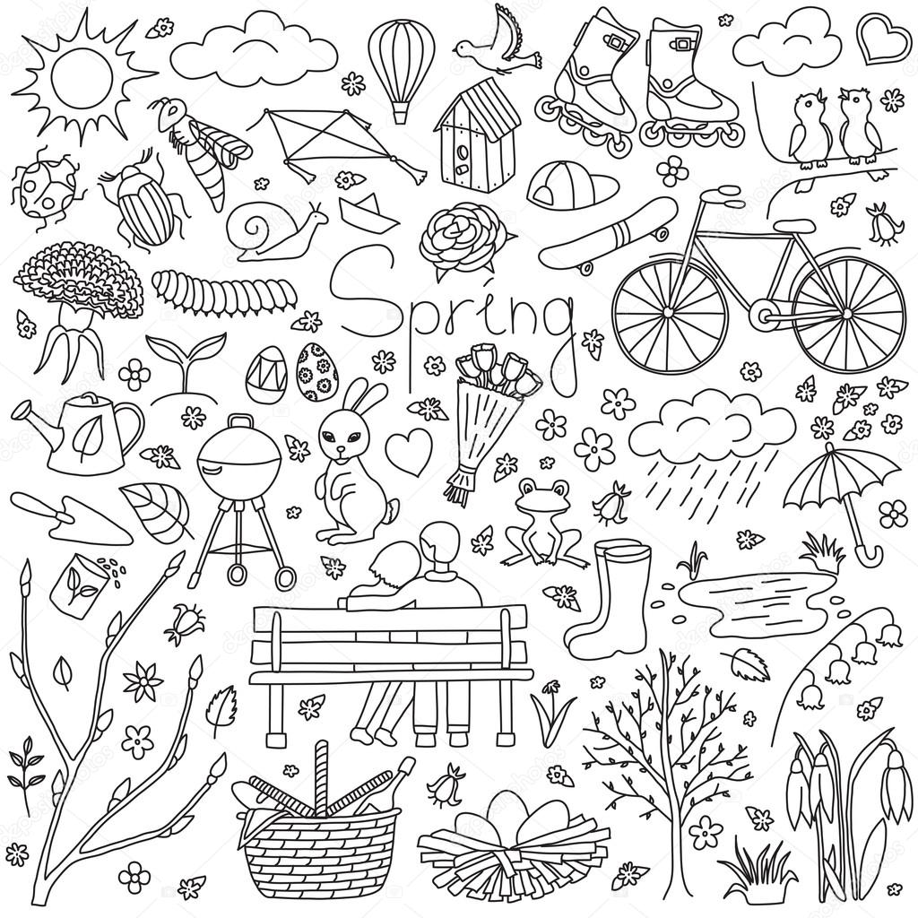 spring items isolated