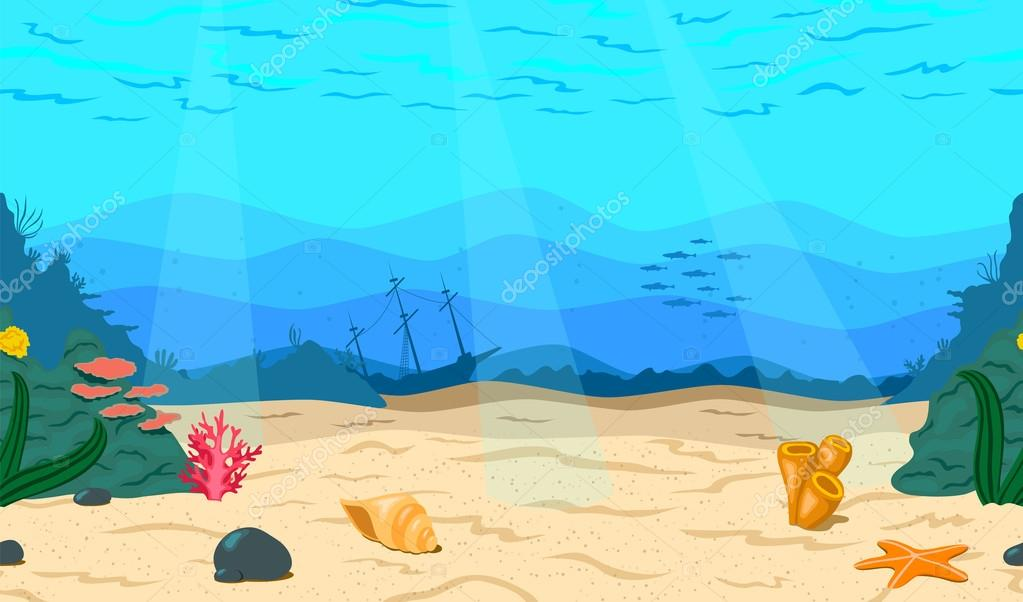 Dibujos Animados De Mar, Océano. Mundo Submarino