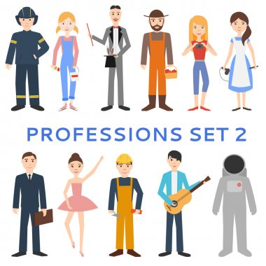 Professions, uniforms, job. Set of vector icons.