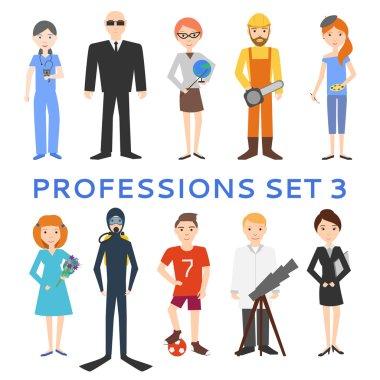Professions, uniforms, job. Set of vector icons.
