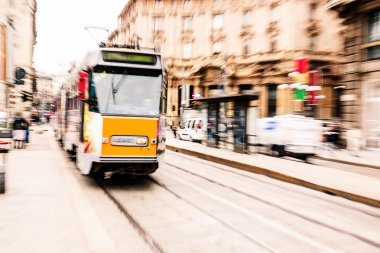 Tram moving in the city