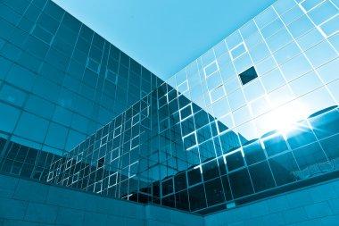 blue glass high rise building skyscraper