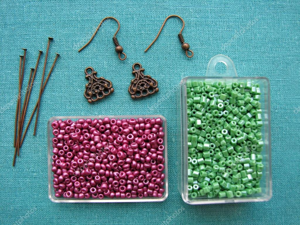 beads and pieces for making earrings handmade jewelry — stock  - beads and pieces for making earrings handmade jewelry — stock photo