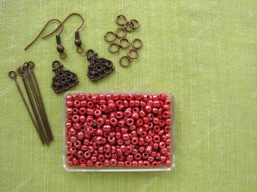 beads and pieces for making earrings handmade jewelry — stock  - beads and pieces for making earrings handmade jewelry – stock image
