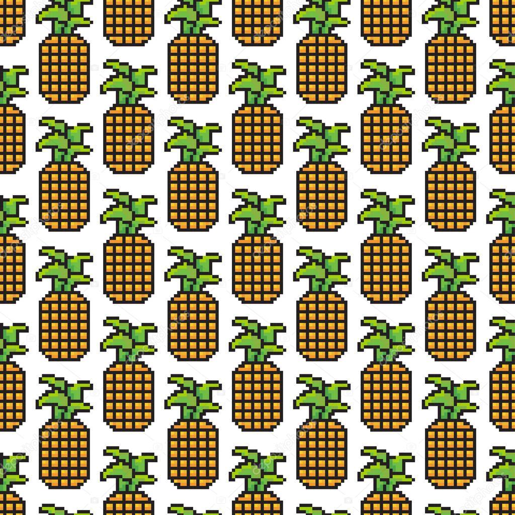 Vector Cute Abstract Pixel Art Seamless Pineapple Pattern
