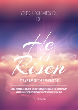 He is risen, vector Easter religious poster template with transparency and gradient mesh