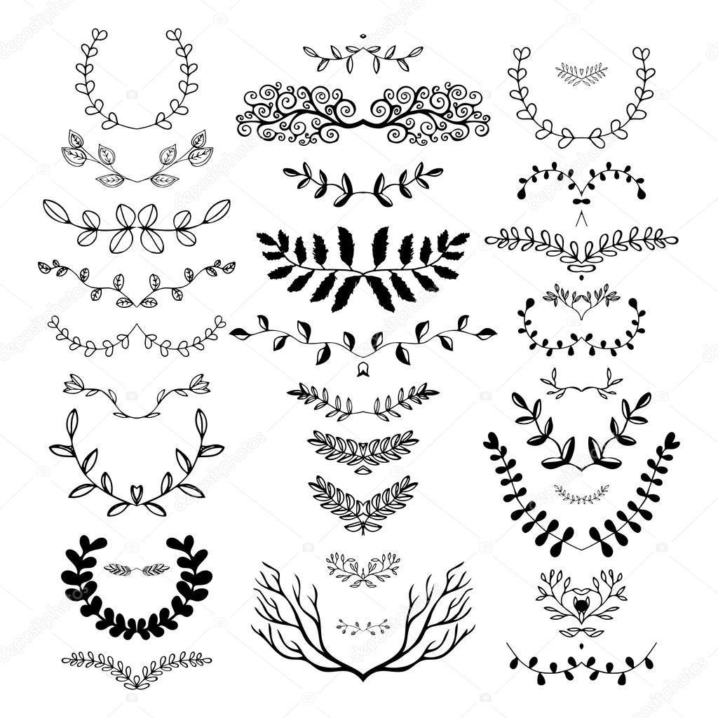 Hand drawn floral borders dingbats dividers wreaths vetor de vector illustration isolated on the white background can be used for birthday card wedding invitations book page decoration vetor por olgarom stopboris Images