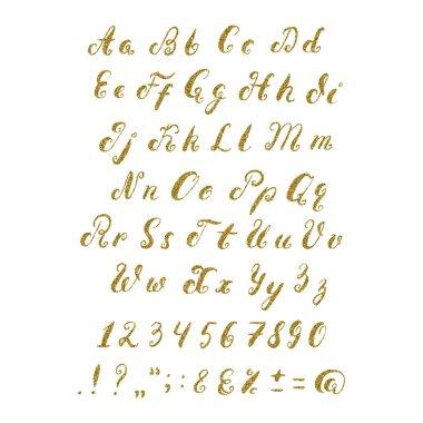 Handwritten alphabet with the gold glitter texture.