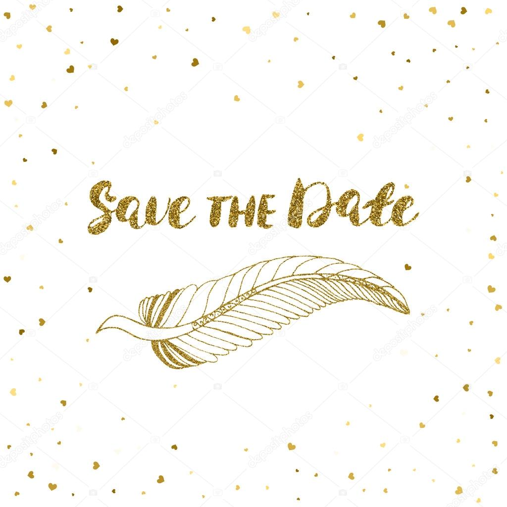 Template for card banner flyer save the date invitation template for card banner flyer save the date invitation birthday party with the golden feather vetor por olgarom stopboris Image collections