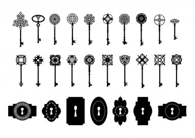 Vintage silhouette keys and keyholes collection.