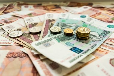 Background of money, rubles, dollars, euros