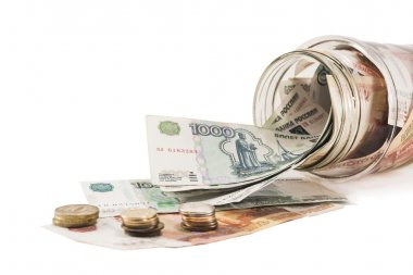 Bank with money, dollars , euros and scattered coins