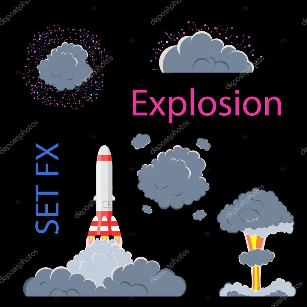 Cartoon explosion effect with smoke  — Stock Vector © Sipgus #123016402