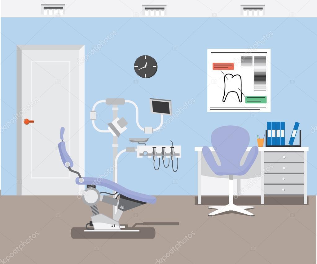 Disegno Di Ufficio : Priorità bassa di disegno di piatto dentista ufficio illustrazione
