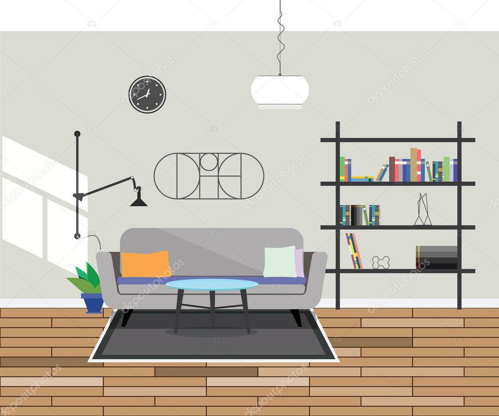 Dise O Plano Moderno Interior Living Comedor Vector De