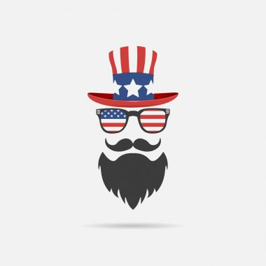 American-style character with a beard, glasses, mustache and glasses. logo on a white background