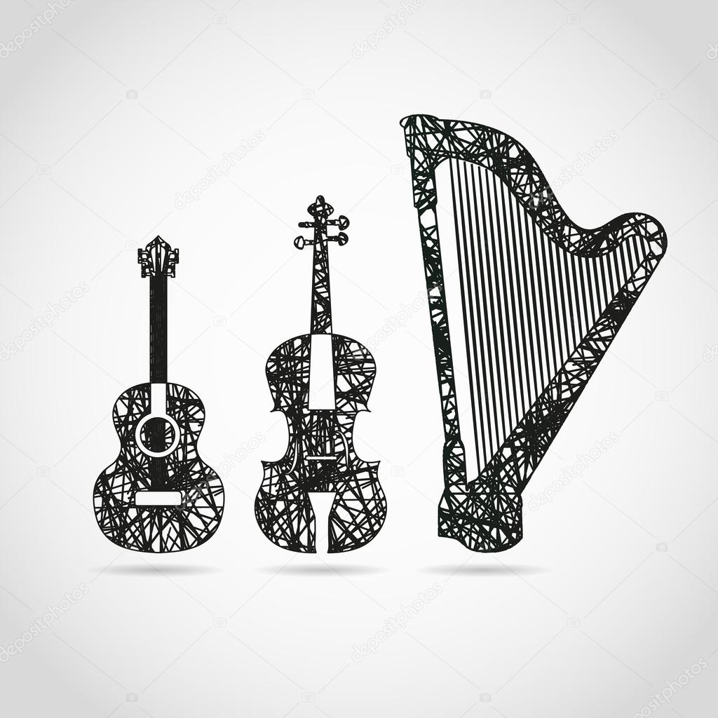 Guitar, cello and harp in cool design