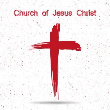 Church of Jesus Christ logo. Cross painted brushes stock vector