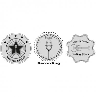set of logos for the music shop, recording studio. sticker on a T-shirt. Stock vector
