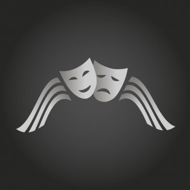 Two masks of joy and sorrow. logo Theatre. arts scene