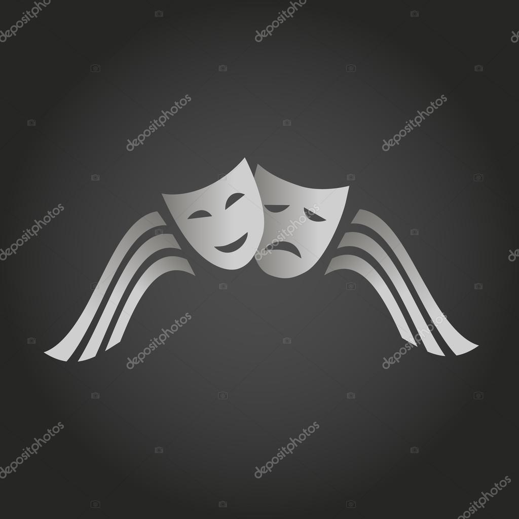 Two masks of joy and sorrow. logo Theatre. arts scene