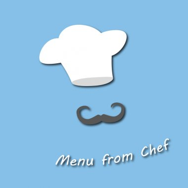 cap chef with a mustache. logo on the menu from the chef. stylish design the best restaurant on the beautiful background