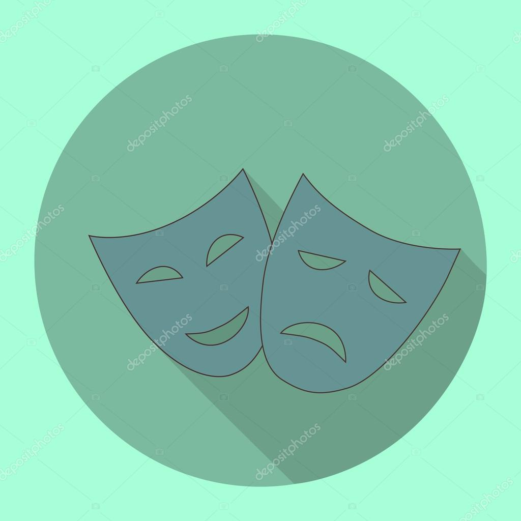 Crying and smiling faces in flat shadow