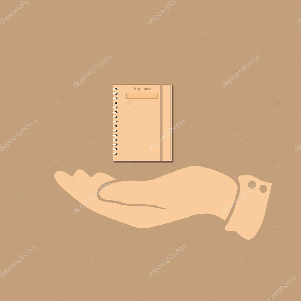 Notepad icon in the hand of man