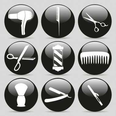 hairdressing icons. stylish black color.