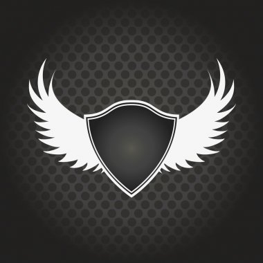 stylish black shield with wings on a black background