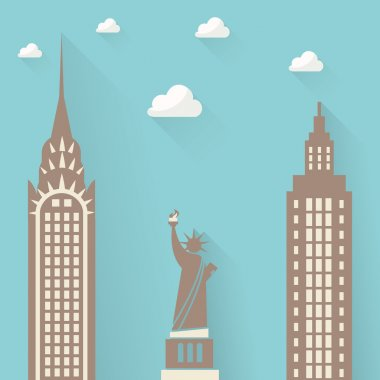 Statue of Liberty on the background of the city skyscrapers. clouds