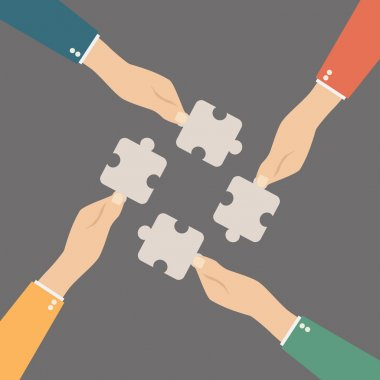 Hands putting puzzle pieces together. Teamwork concept. Flat design