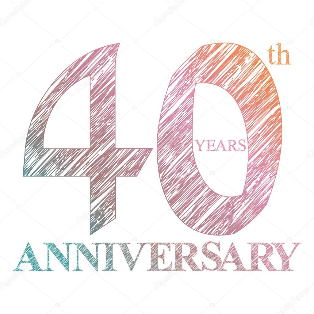 A Das Logo Das 40 Jahrige Jubilaum Mit Einem Kreis Gemalt Anzahl