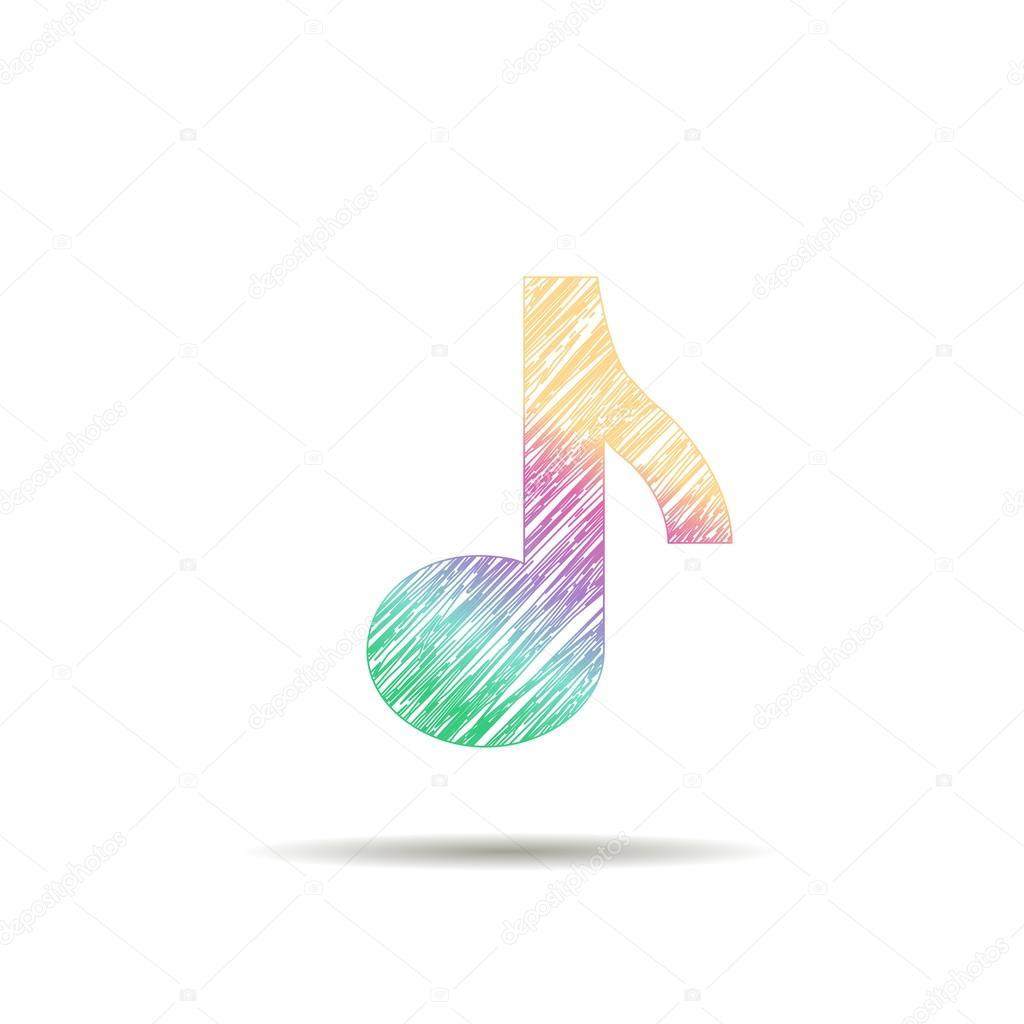 logo muzieknoot geschilderd in de kleuren van de regenboog