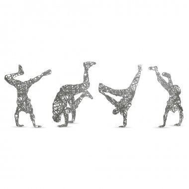 hip hop dancer silhouette on white background