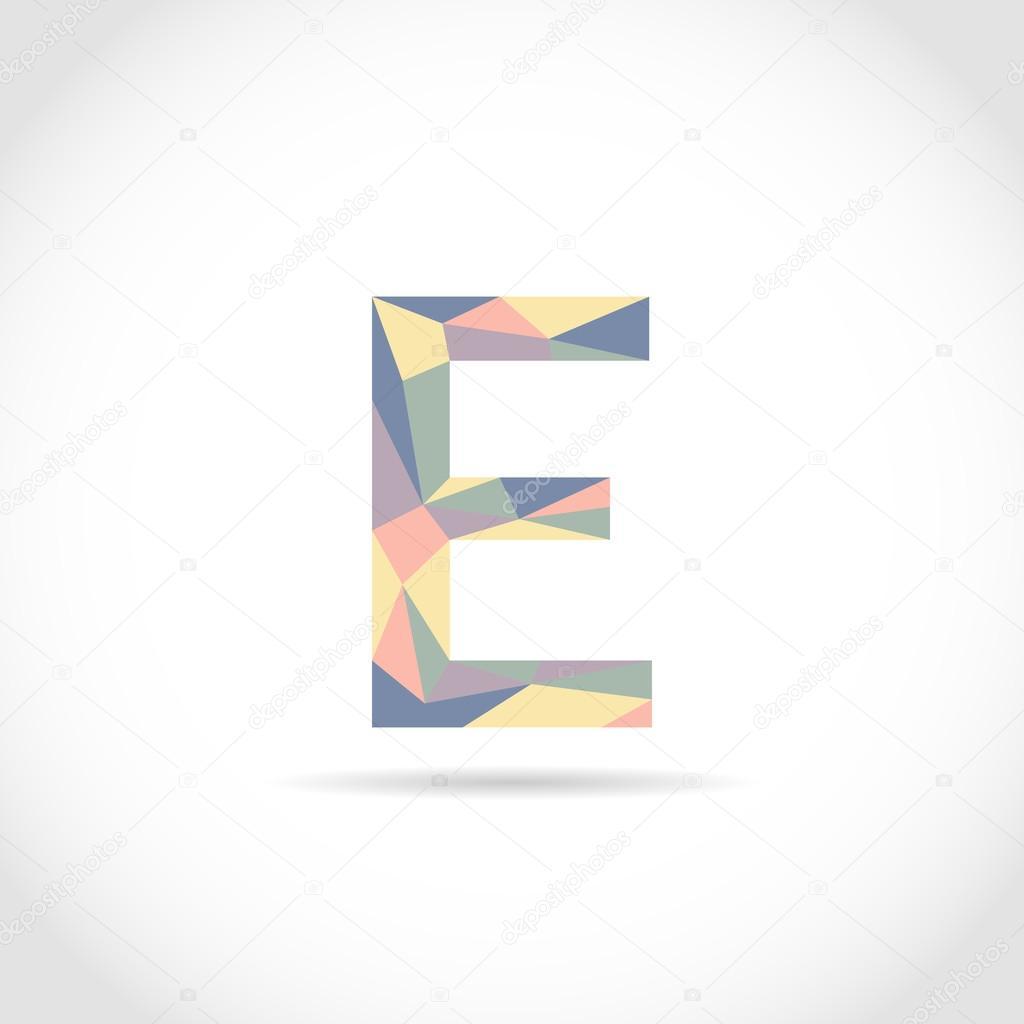 E Brief Logo Icondesign Mosaik Muster Vorlage Element Low Poly Stil