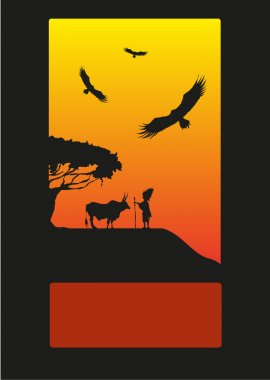 Vector illustration. African savanna, a lone shepherd and buffalo around the tree. Birds of prey hovering in the sky.