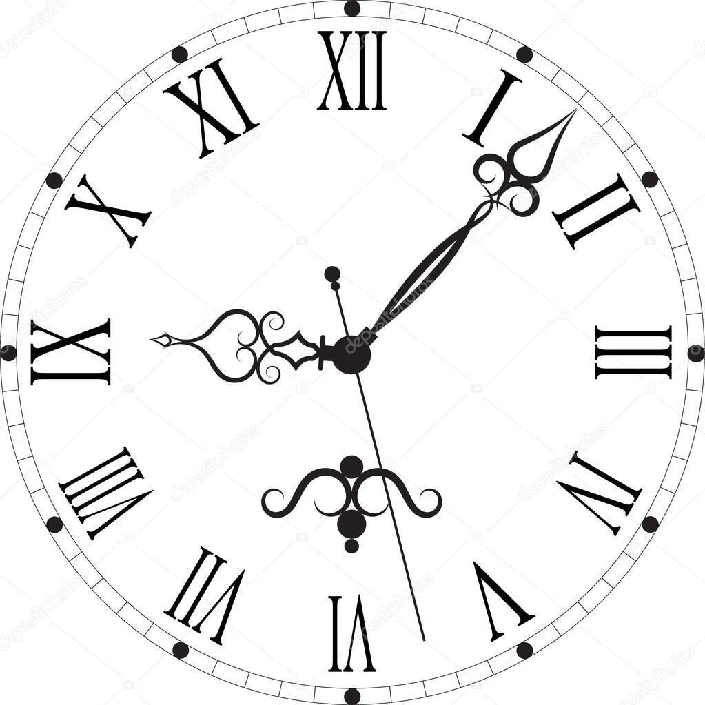 Line Drawing Clock Face : 罗马的表盘复古钟 — 图库矢量图像 ovi