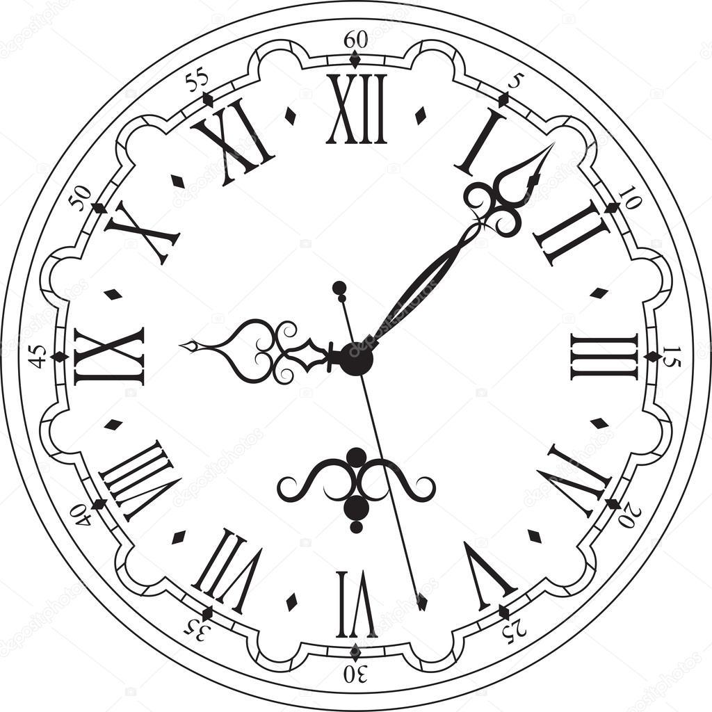 Retro Clock With Roman Dial Stock Vector 169 Ovi801 95246162