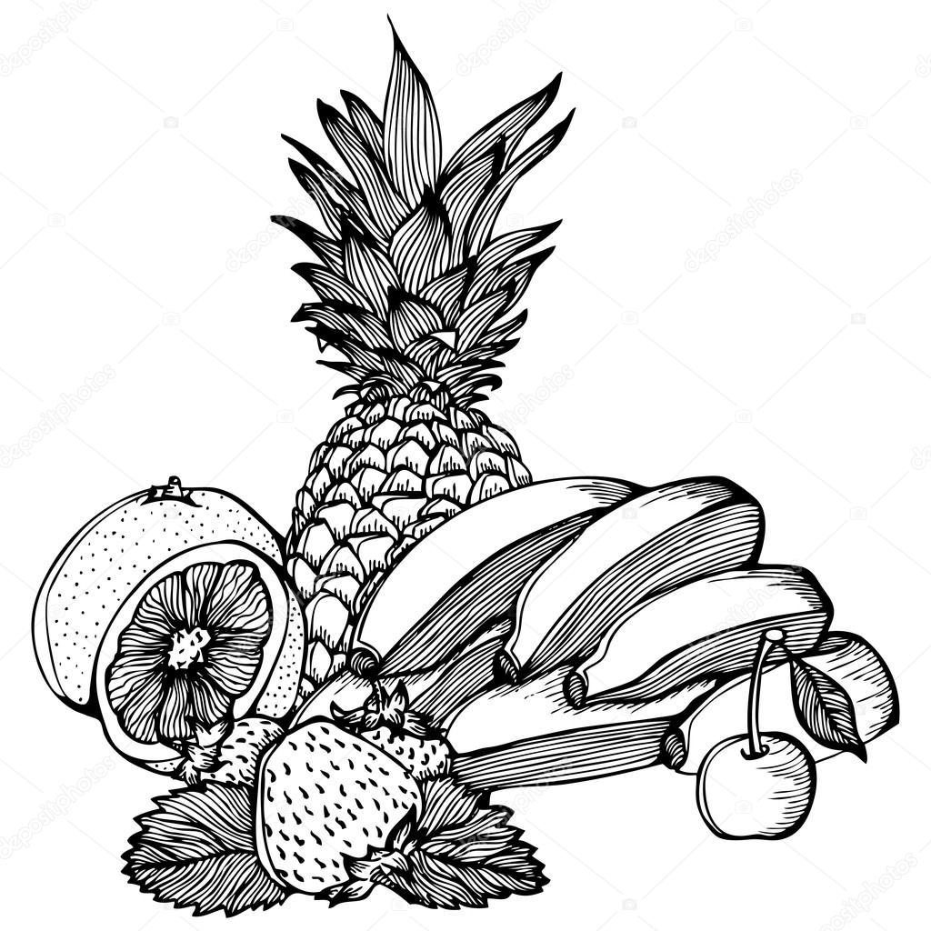 Ananas Rysunek banany cytryna truskawka wiśnia ananas rysunek — grafika